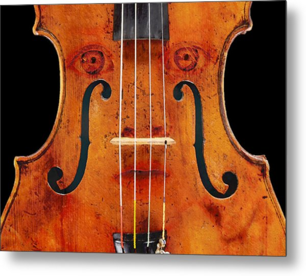Girl In A Violin Metal Print