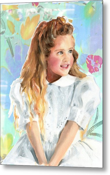 Girl In A White Lace Dress  Metal Print