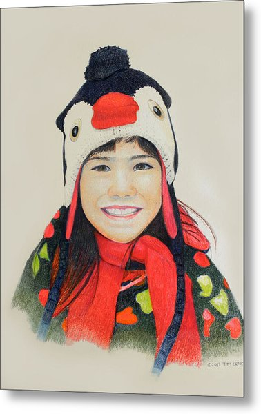 Girl In The Penguin Cap Metal Print