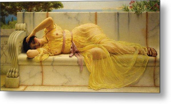 Girl In Yellow Drapery Metal Print