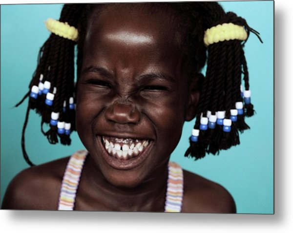 Girl Laughing Metal Print