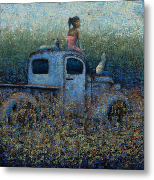 Girl On A Truck Metal Print by Ned Shuchter