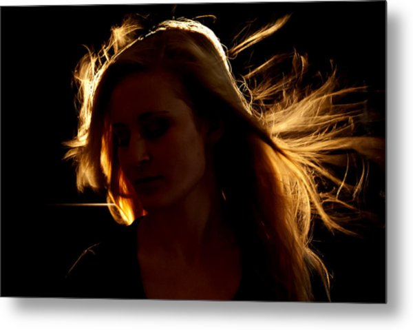 Girl On Fire Metal Print