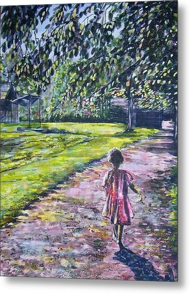 Girl On Trail Metal Print by Linda Vaughon