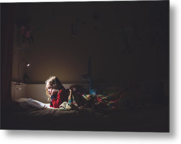 Girl Reading In Her Bed At Night Metal Print by Teresa Short