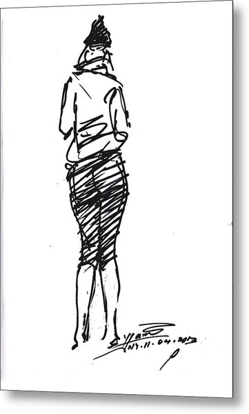 Girl Sketch Metal Print