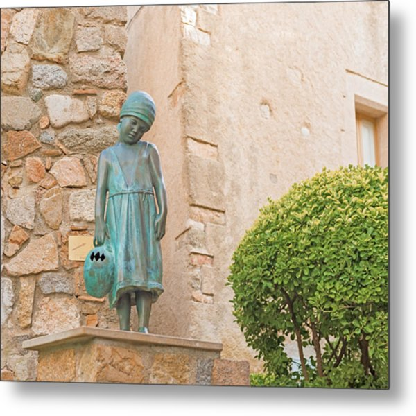 Girl Statue In Tossa De Mar Medievaltown In Catalonia Spain Metal Print