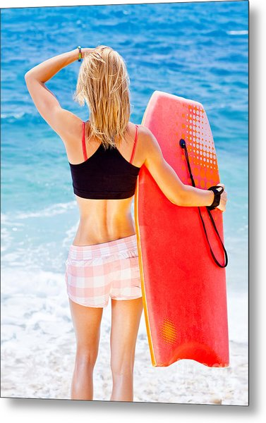 Girl Surfer On The Beach Metal Print by Anna Om