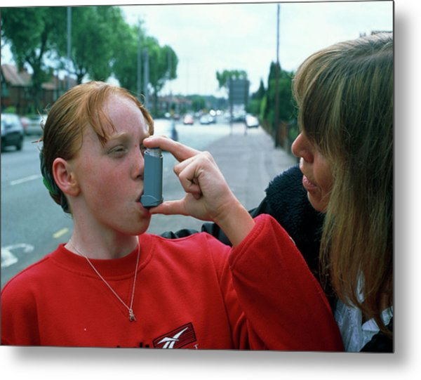 Girl Uses An Aerosol Inhaler For Asthma Metal Print