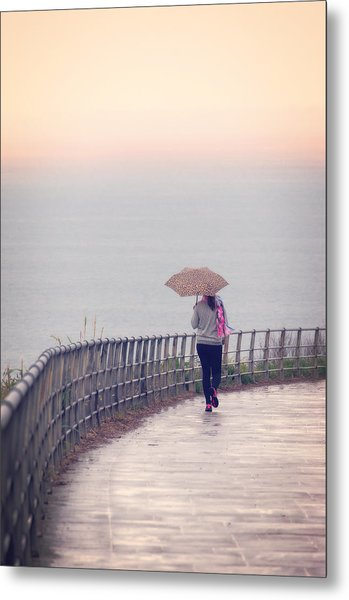 Girl Walking With Umbrella Metal Print