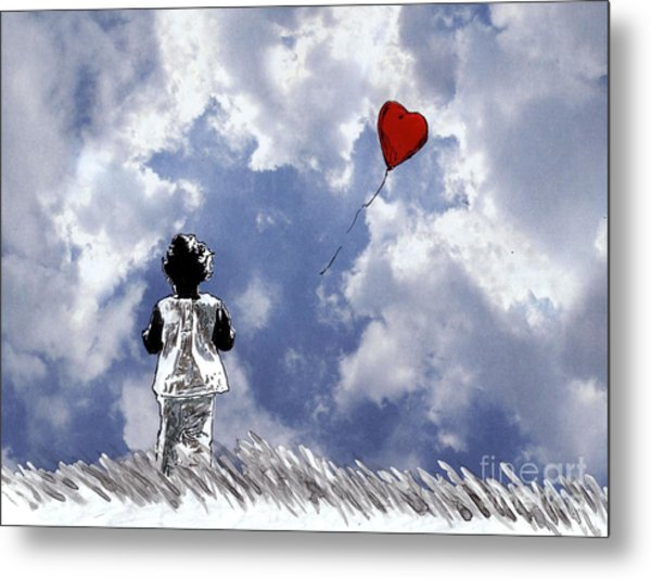 Girl With Balloon 2 Metal Print