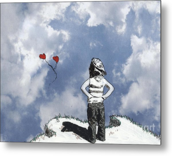 Girl With Balloons 4 Metal Print