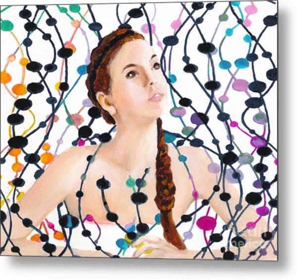 Girl With Beads Metal Print