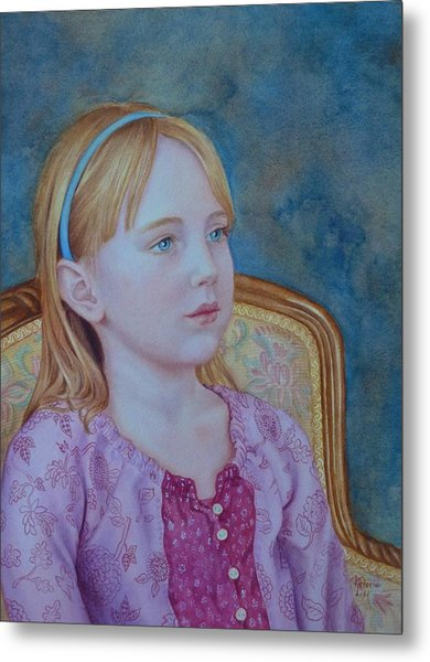 Girl With Blue Headband Metal Print