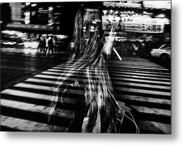 Girl With Cigarette Metal Print