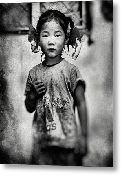 Girl With Hair Bows Metal Print by Txules