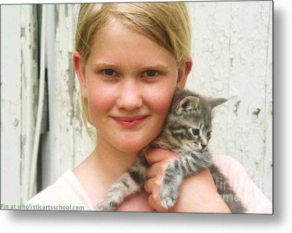 Girl With Kitten Metal Print