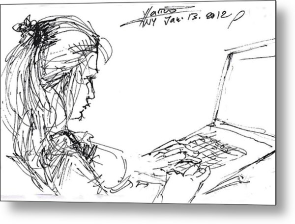 Girl With Laptop  Metal Print