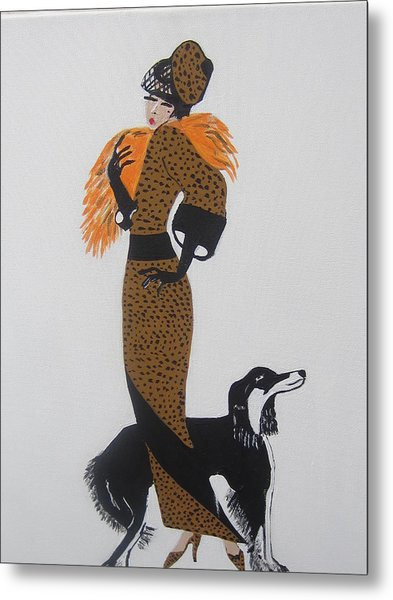 Girl With Orange Fur Metal Print