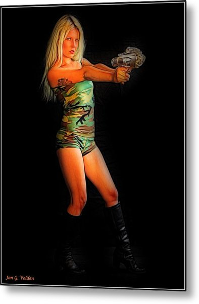 Girl With Ray Gun Metal Print