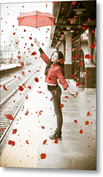Girl With Red Umbrella Metal Print