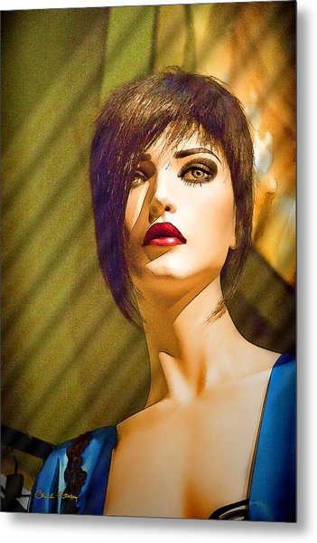 Girl With The Blue Dress On Metal Print