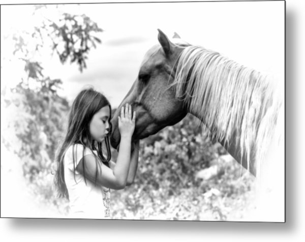 Girls And Their Horses Metal Print