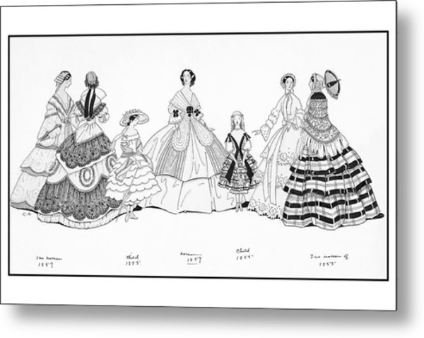 Girls And Women Wearing Historic Dresses Metal Print