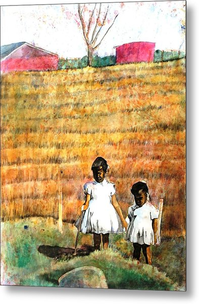 Girls In The Field Metal Print