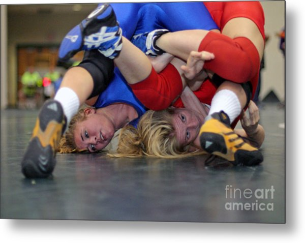 Girls Wrestling Competition Metal Print