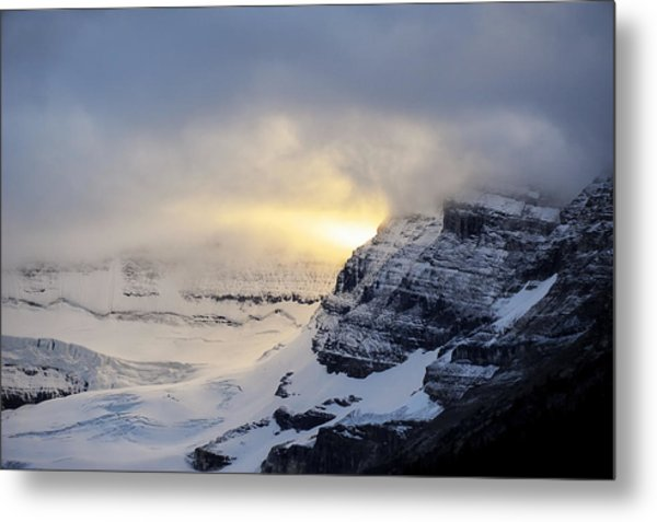 Metal Print featuring the photograph Glacier Above Lake Louise Alberta Canada by Mary Lee Dereske