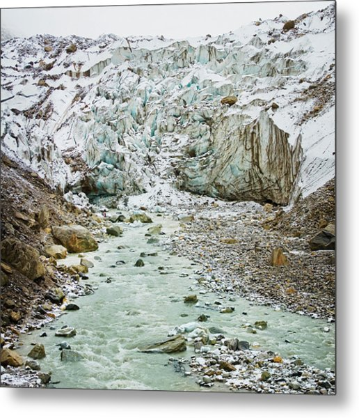 Glacier And River In Mountain Metal Print