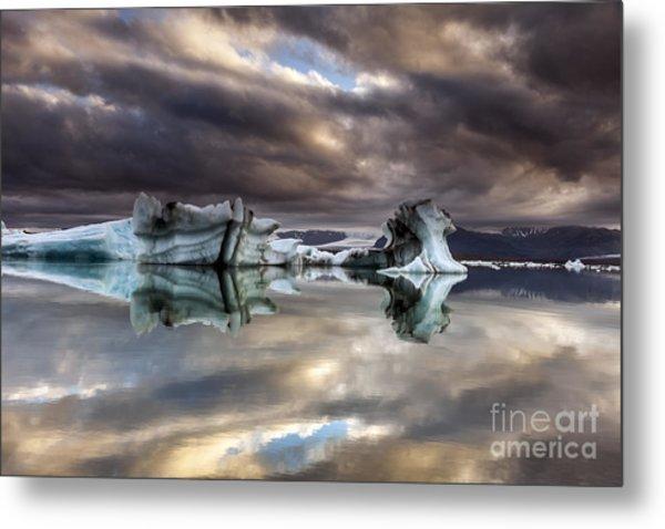 Glacier In Water Metal Print