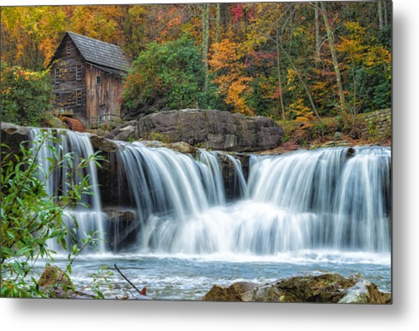 Glade Creek Grist Mill And Waterfalls Metal Print