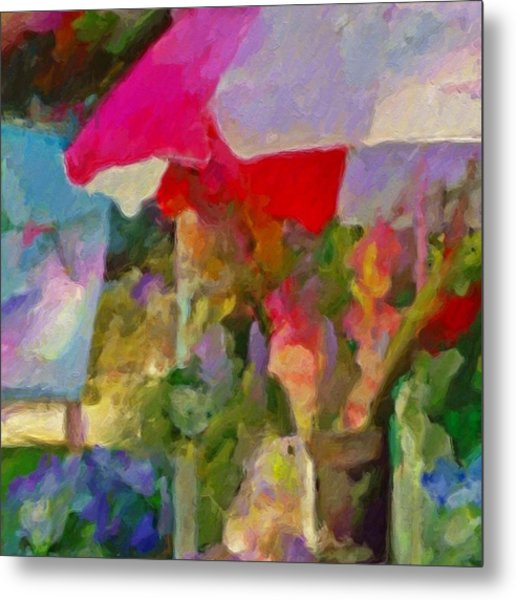 Gladiolas For Sale Roadside - Square Metal Print