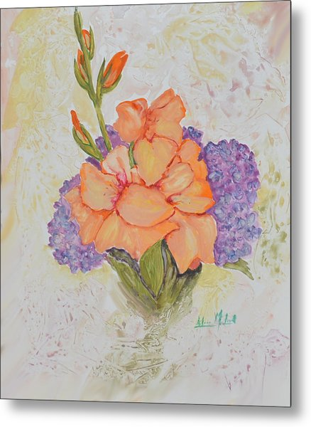 Gladioli And Hydrangea Metal Print by Aileen McLeod