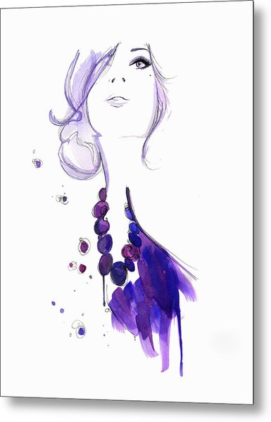 Glamorous Woman Wearing Purple Necklace Metal Print by Jessica Durrant