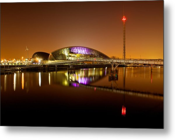Glasgow Science Centre On A Tofee Coloured Sky Metal Print