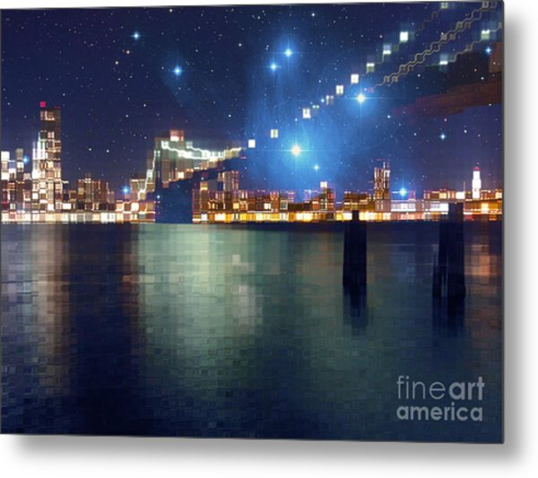 Glass Block Brooklyn Bridge Among The Stars Metal Print