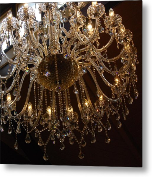 Metal Print featuring the photograph Glass Chandelier by Jocelyn Friis