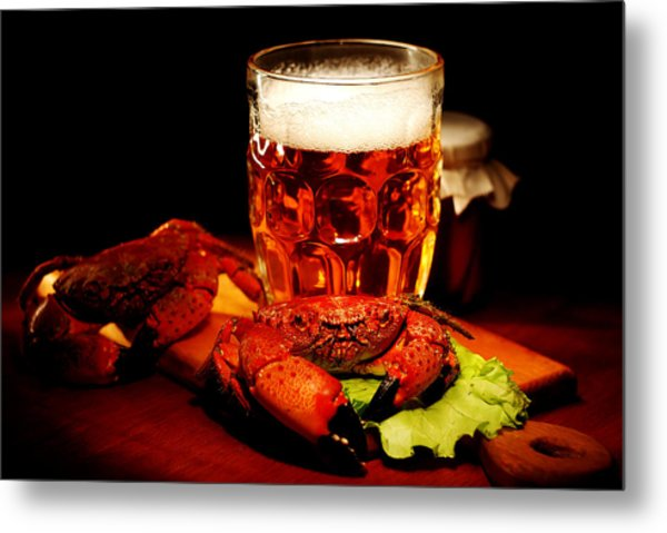 Glass Of Beer With Snack  Metal Print