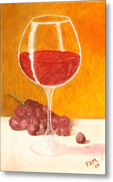 Glass Of Grapes Metal Print