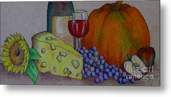 Glass Of Red Metal Print