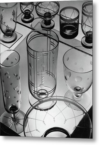 Glasses And Crystal Vases By Walter D Teague Metal Print