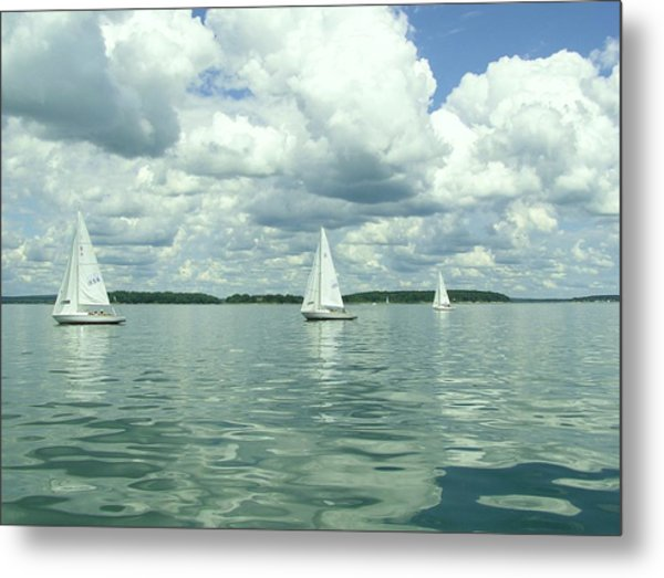 Glassy Sailing Metal Print