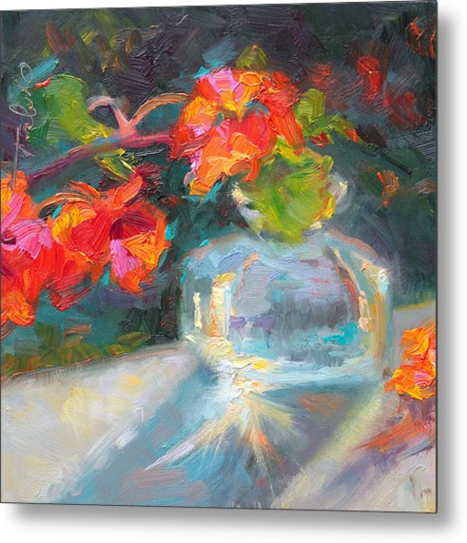 Gleaning Light Nasturtium Still Life Metal Print