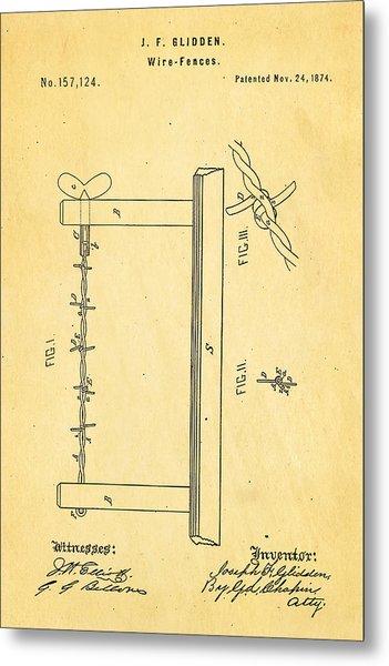 Glidden Barbed Wire Patent Art 1874 Metal Print