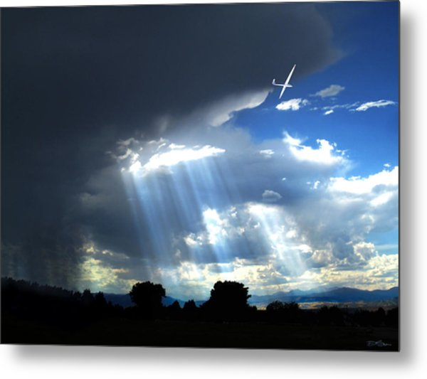 Glider Over Colorado Front Range Metal Print by Ric Soulen