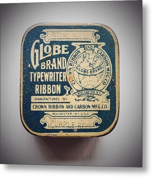 #globe #brand #typewriter #ribbon #tin Metal Print