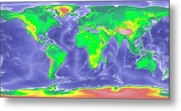 Globe World Map Showing Ice Age Sea Levels Photograph By Noaa